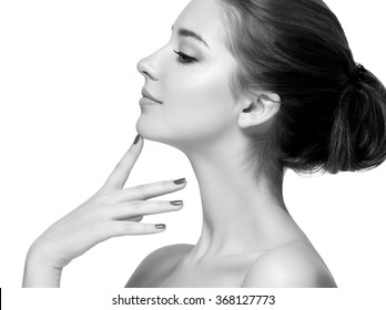 Woman beauty portrait close-up isolated on white