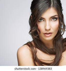 Woman beauty portrait, sensual open lips. Long hair style. Female model studio posing.