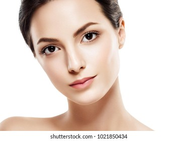 Woman beauty portrait studio closeup with healthy skin. Studio shot. Isolated on white.