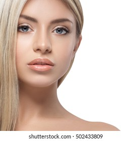 Woman beauty skin care close up portrait blonde hair studio