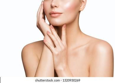 Woman Beauty Skin Care, Model Touching Face, Beautiful Girl Lips Nails Treatment
