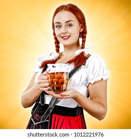 Woman with beer and golden background.