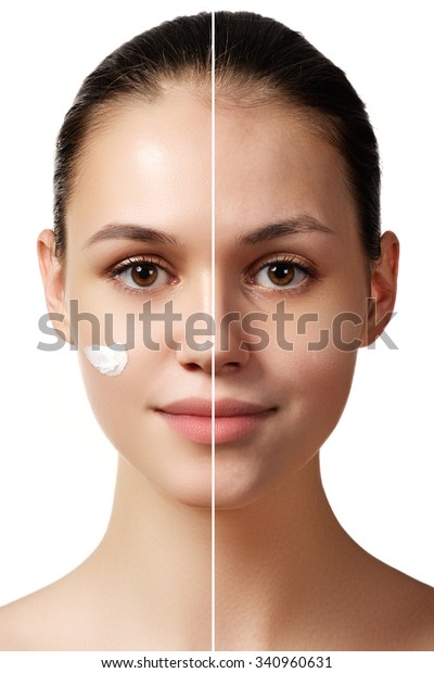 Woman Before After Digital Makeup Retouching Stock Photo (Edit Now