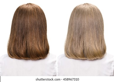 Woman before and after dyeing hairs