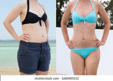 Woman Before And After From Fat To Slim Concept Standing
