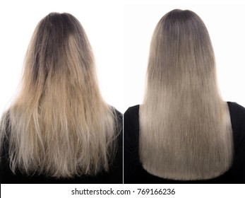 Woman Before and After Hair Care on White Background. Straightening, Smoothing, Keratin and Treatment of the Hair. Woman with Ombre Hair Color.