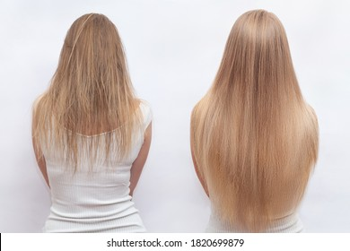 Woman before and after hair extensions on white background. Hair extension, beauty, tress, hair growth, styling, salon concept. Length and volume. - Shutterstock ID 1820699879