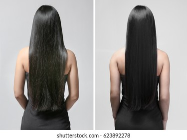 Woman before and after hair treatment on gray background
