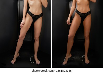 Woman before after instant tan spray skintone body.
