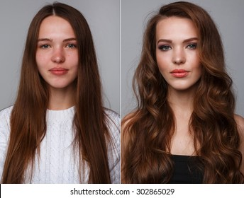 Woman before and after makeup. Real result without retouching.