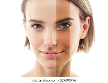 Woman before after tan spray