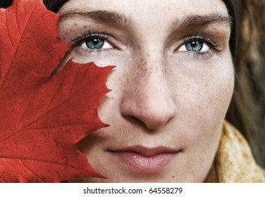 Woman behind the red leaf