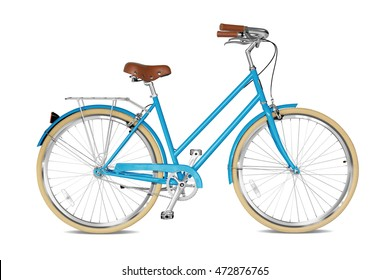 Woman bicycle with a blue frame. Clipping path included.