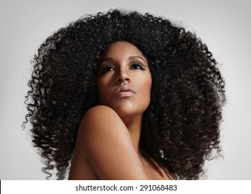 woman with  a big afro hair