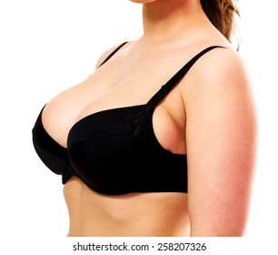 Woman with big breasts, white background, isolated, copyspace