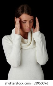 Woman with a big headache (isolated on with with copy space)