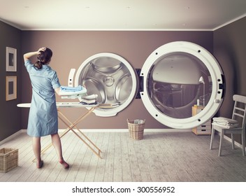 Woman and the Big Wash. Creative concept.Photo combination