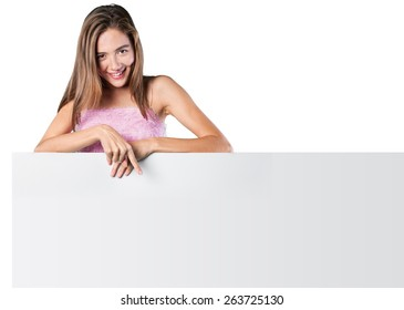 Woman, billboard, blank.