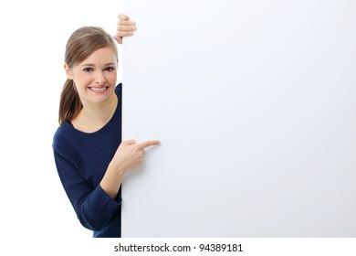 Woman billboard sign.