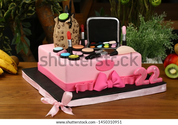 Fabulous Woman Birthday Cake Cosmetics Make Material Stock Photo Edit Now Funny Birthday Cards Online Alyptdamsfinfo