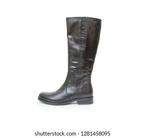 Woman black boots isolated on the white background