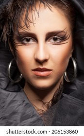 Woman with black darck gothic make up. Sensuality. Witch. Fashion make up. Professional