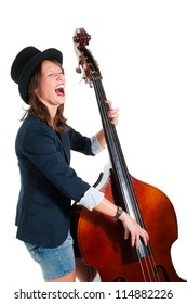 Woman in black hat play double bass isolated on white