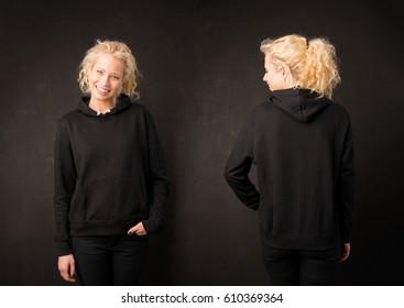 Woman in black hoodie from front and back