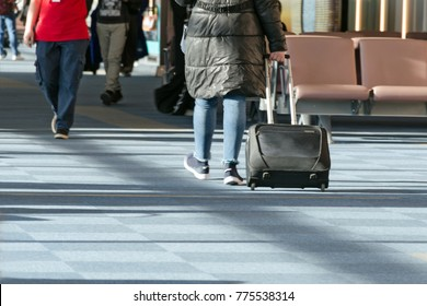 Woman in a black jacket and suitcase walks among other people around the airport waiting area to board the plane.