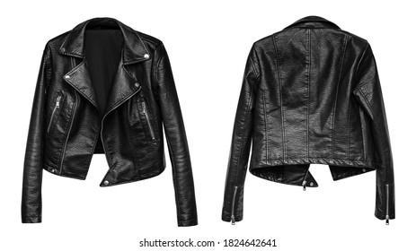Woman black leather jacket isolated on white background