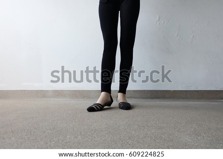black pants and shoes