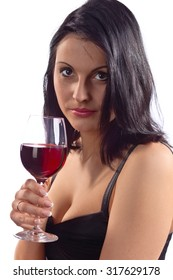 woman in black with red wine , isolated on white