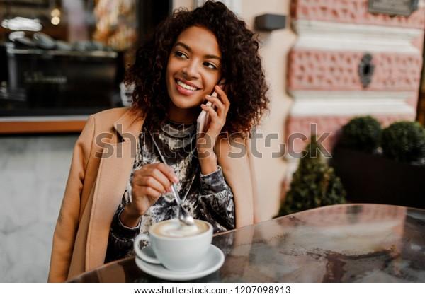 Woman Black Skin Candid Smile Talking Stock Photo (Edit Now) 1207098913