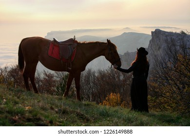 Woman in black stands next to a horse on nature against the background of a forest and mountains in the evening light