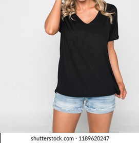 Woman in a Black V-Neck T-Shirt