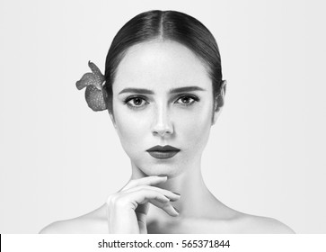 Woman Black and White Beauty Portrait