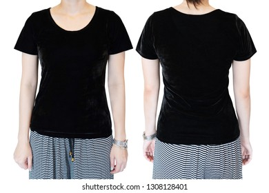 woman in blank black velve t-shirt template for graphic design