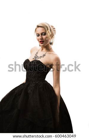 Woman Blond Black Evening Dress Beautiful Stock Photo Edit Now