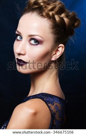 Woman Blonde Hair Blue Eyes Having Stock Photo Edit Now 346675106