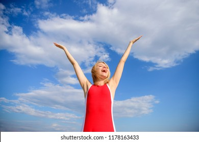 Woman blonde relaxing outdoors confident perspirant. Take care skin armpit. Dry armpit summer goal. Girl stay active feel free solid antiperspirant sky background. Enjoy life without sweat smell.