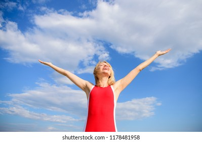 Woman blonde relaxing outdoors confident perspirant. Take care skin armpit. Girl stay active feel free solid antiperspirant sky background. Dry armpit summer goal. Enjoy life without sweat smell.