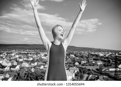 Woman blonde relaxing outdoors confident perspirant. Enjoy life without sweat smell. Dry armpit summer goal. Take care skin armpit. Girl pleased with warm sunlight looks relaxed blue sky background.