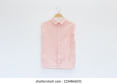 Woman blouse with Pink striped blouse cotton on white background.