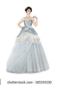 Woman in blue ball dress.