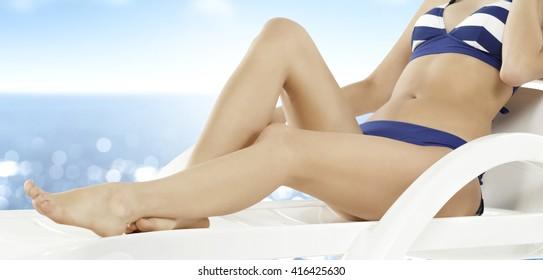 woman and blue bikini