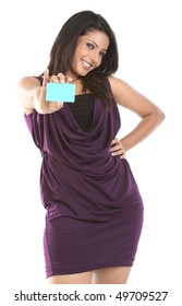 Woman with blue blank card