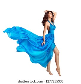 Woman Blue Dress, Beauty Fashion Model in Long Waving Gown, Flying Fabric Isolated over White Background