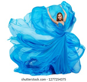 Woman Blue Dress, Fashion Model Dancing in Long Waving Gown, Fabric Flying and Fluttering