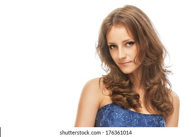 Woman in blue dress, on white background.