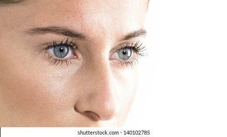 Woman Blue Eyes close up Looking down with white Background